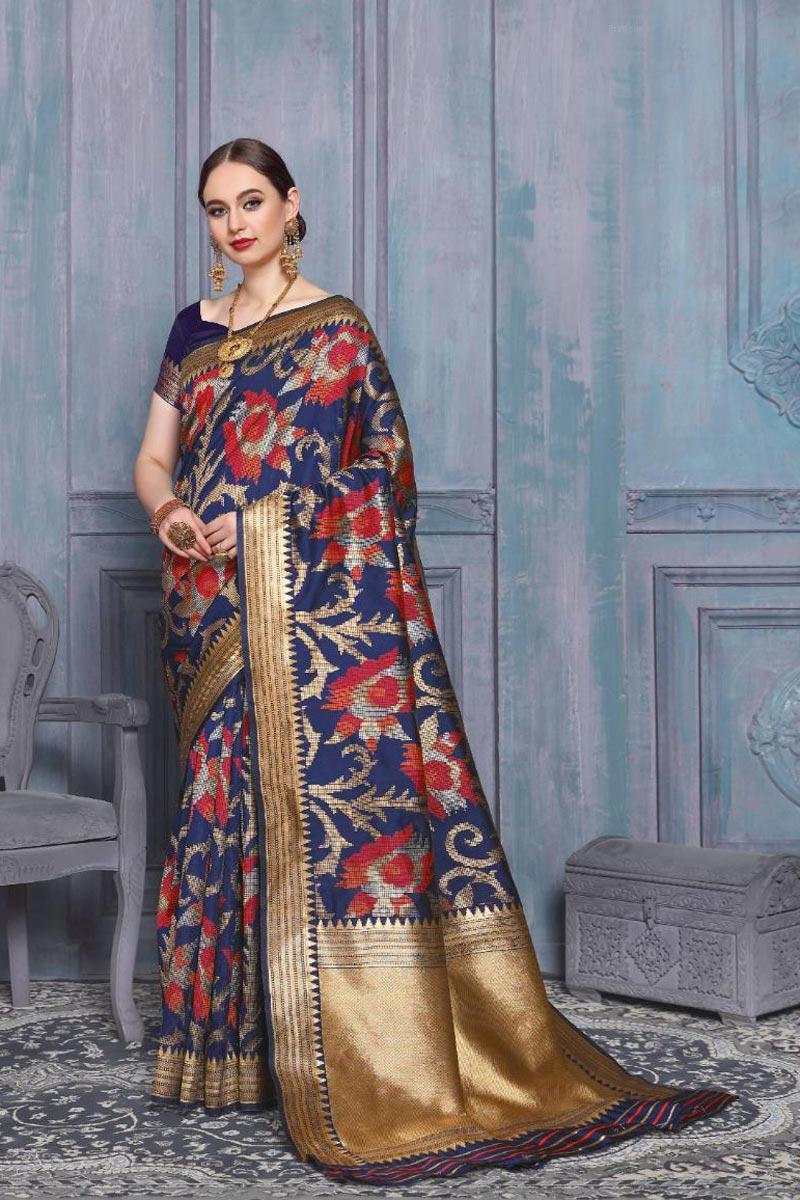 Art Silk Sangeet Function Wear Fancy Weaving Work Saree In Navy Blue Color