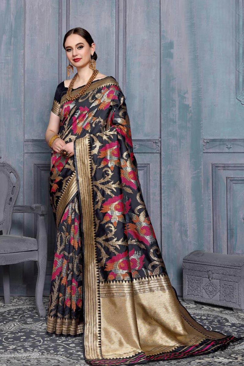 Fancy Weaving Work Black Color Sangeet Function Wear Art Silk Saree