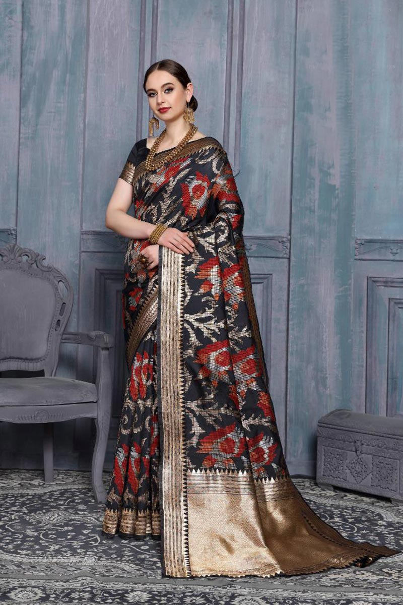 Sangeet Function Wear Black Color Fancy Weaving Work Saree In Art Silk