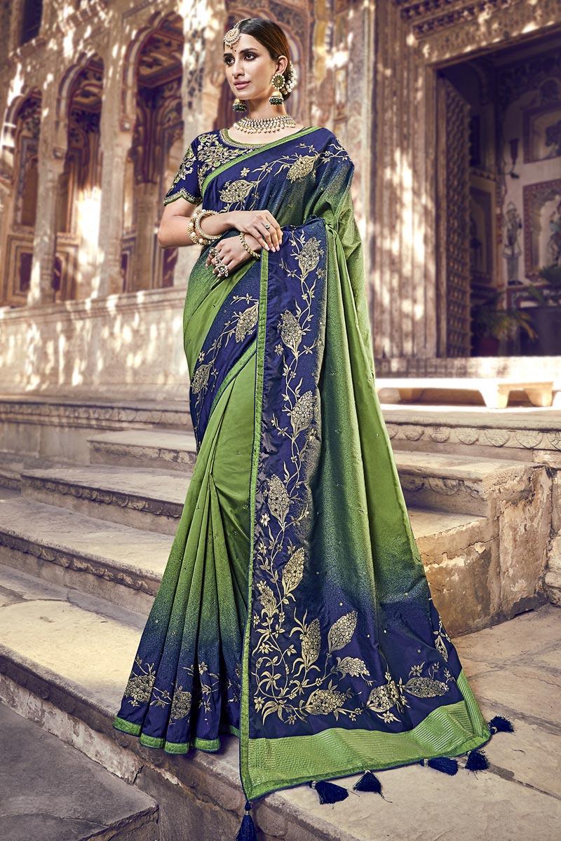 Function Wear Banarasi Silk Designer Weaving Work Saree With Heavy Blouse In Green
