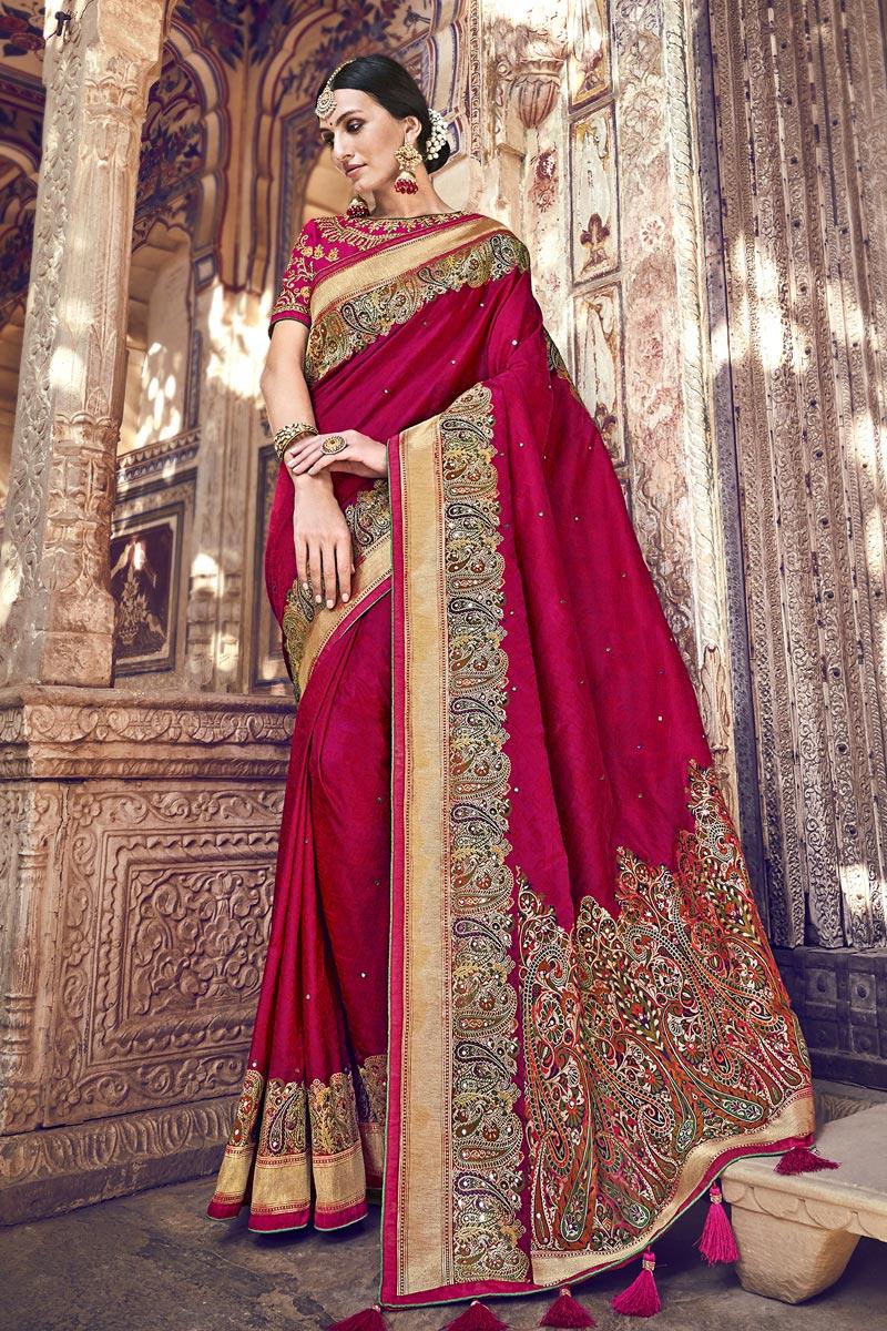Banarasi Silk Function Wear Designer Weaving Work Dark Pink Color Saree With Heavy Blouse