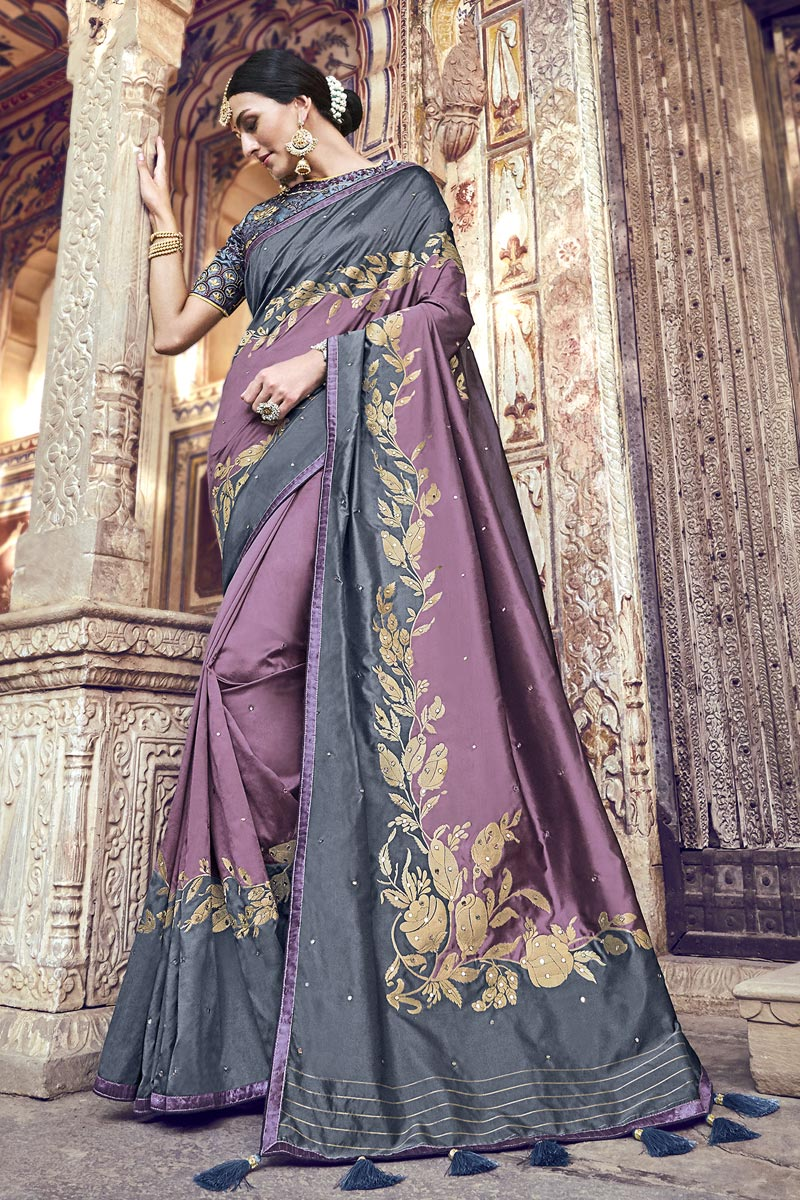 Function Wear Banarasi Silk Designer Laveder Color Weaving Work Saree With Heavy Blouse