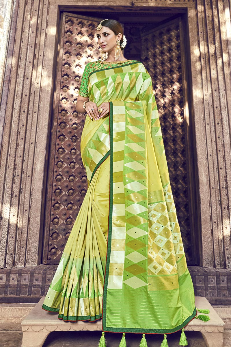 Banarasi Silk Function Wear Yellow Designer Weaving Work Saree With Heavy Blouse