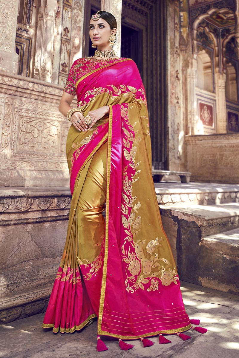 Function Wear Banarasi Silk Golden Color Designer Weaving Work Saree With Heavy Blouse