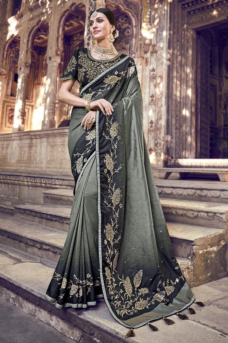 Function Wear Grey Designer Weaving Work Saree With Heavy Blouse In Banarasi Silk