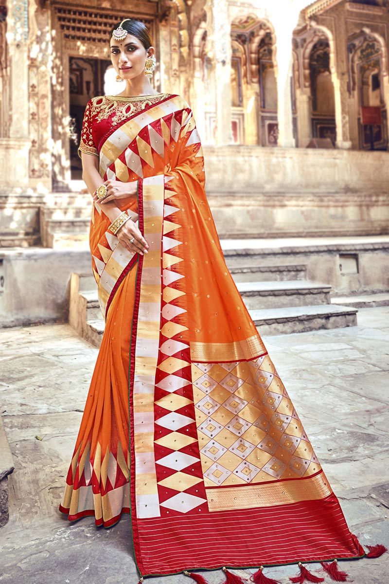 Orange Function Wear Designer Weaving Work Banarasi Silk Saree With Heavy Blouse