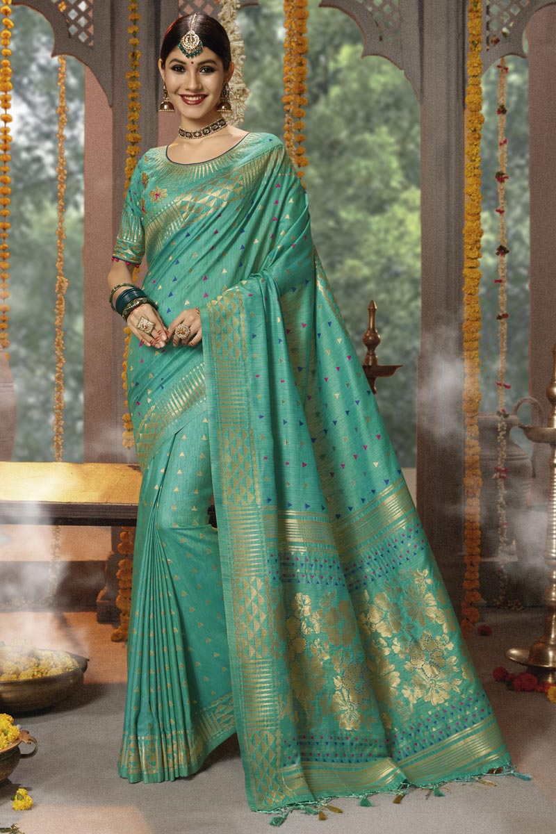 Weaving Work On Cotton Silk Fabric Teal Function Wear Saree With Marvelous Blouse