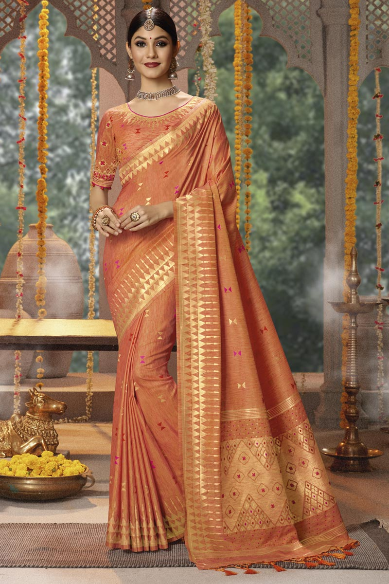 Rust Party Wear Saree In Cotton Silk Fabric With Weaving Work And Beautiful Blouse