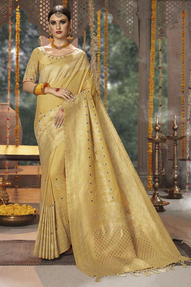 Cotton Silk Fabric Weaving Work Designs On Beige Reception Wear Saree With Attractive Blouse