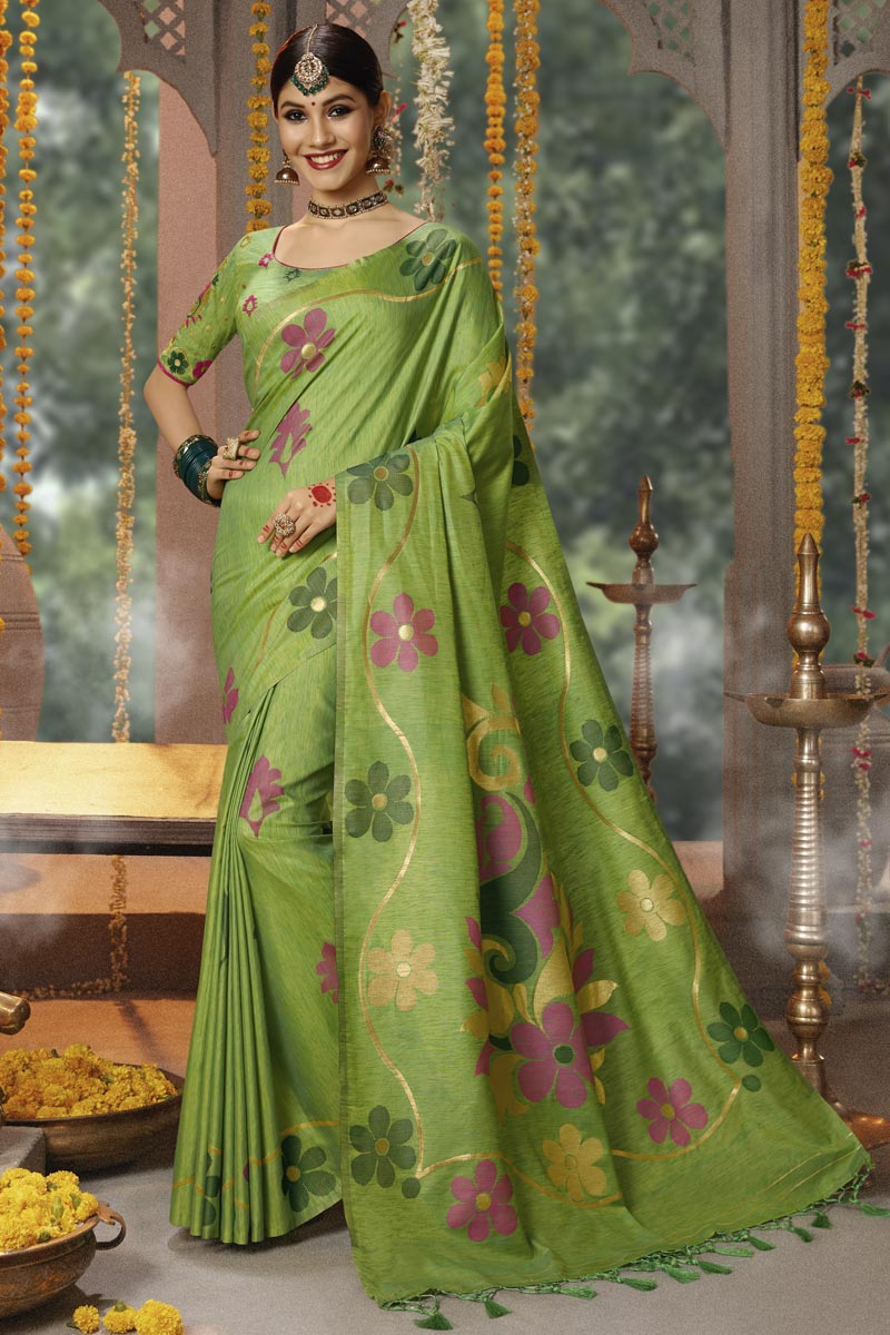 Green Cotton Silk Fabric Function Wear Saree With Weaving Work And Astounding Blouse