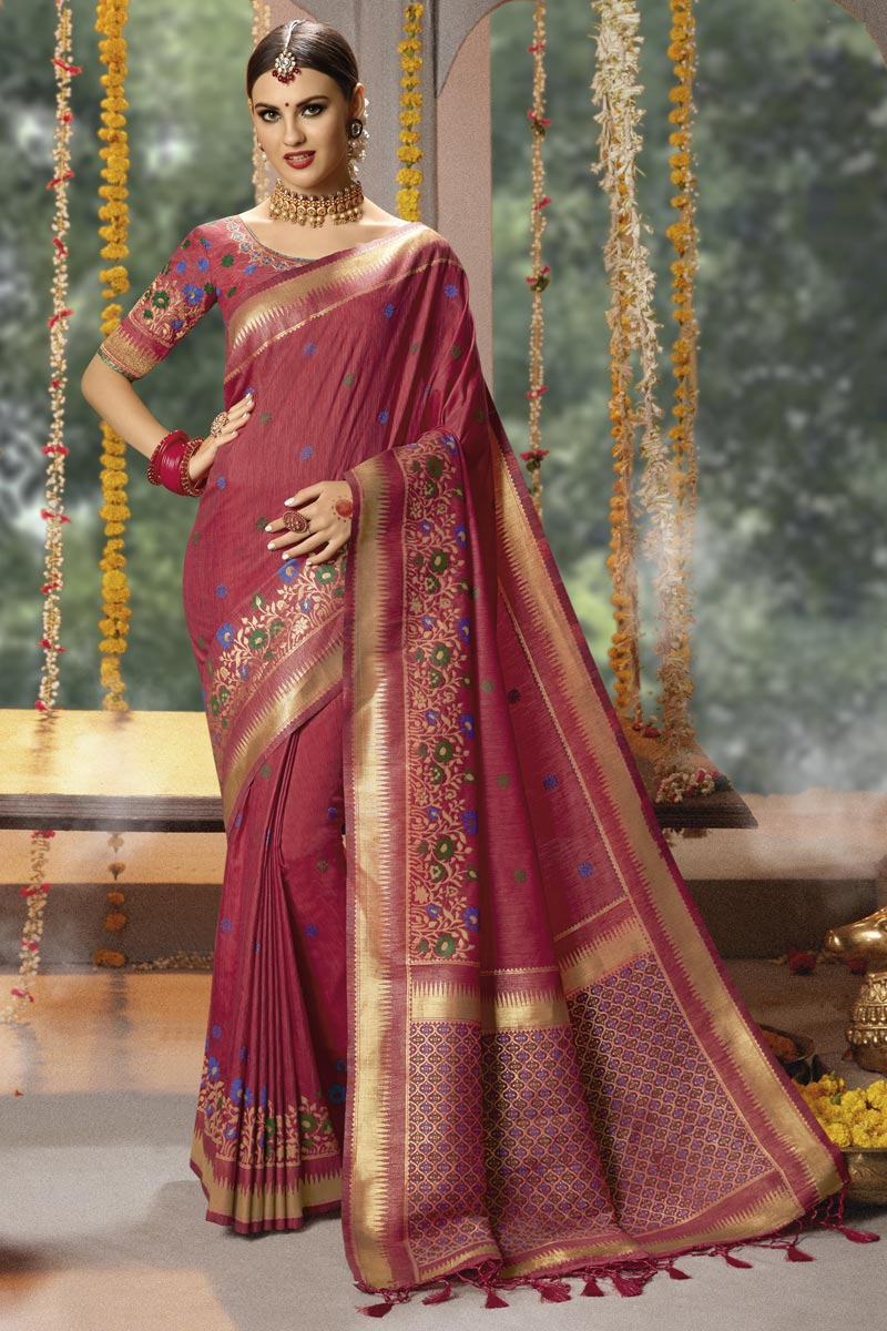 Weaving Work On Occasion Wear Saree In Burgundy With Designer Blouse