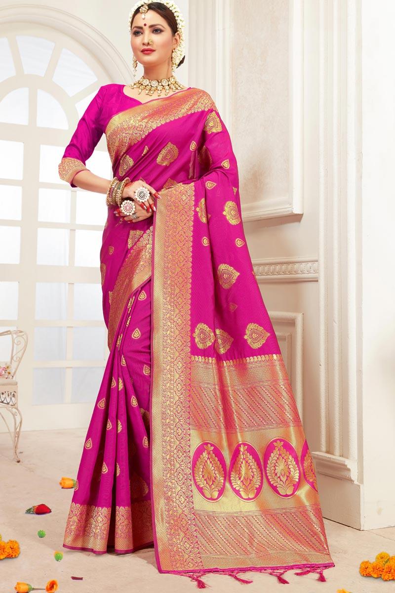 Office Party Wear Art Silk Magenta Saree With Weaving Work