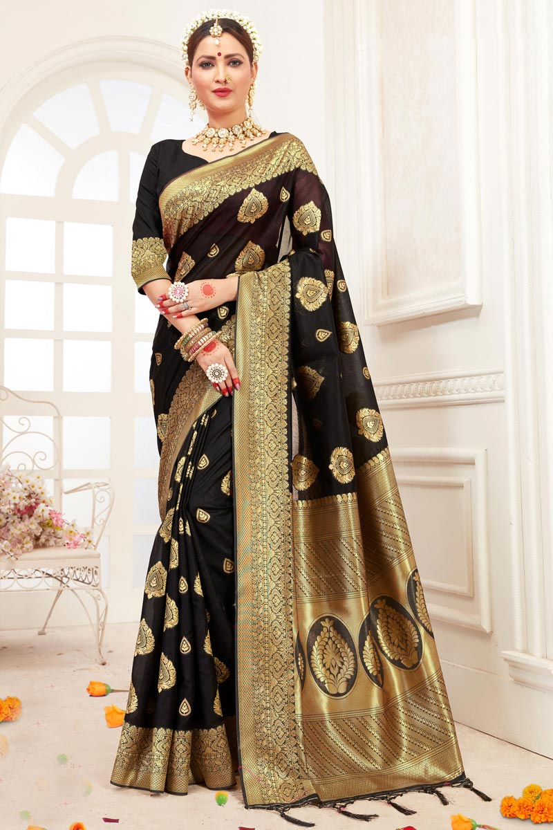 Art Silk Office Party Wear Saree In Black With Weaving Work
