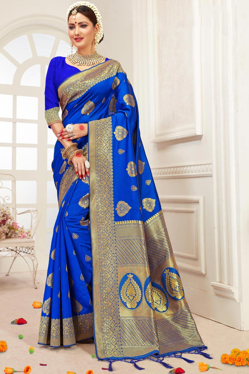 Blue Office Party Wear Art Silk Saree With Weaving Work