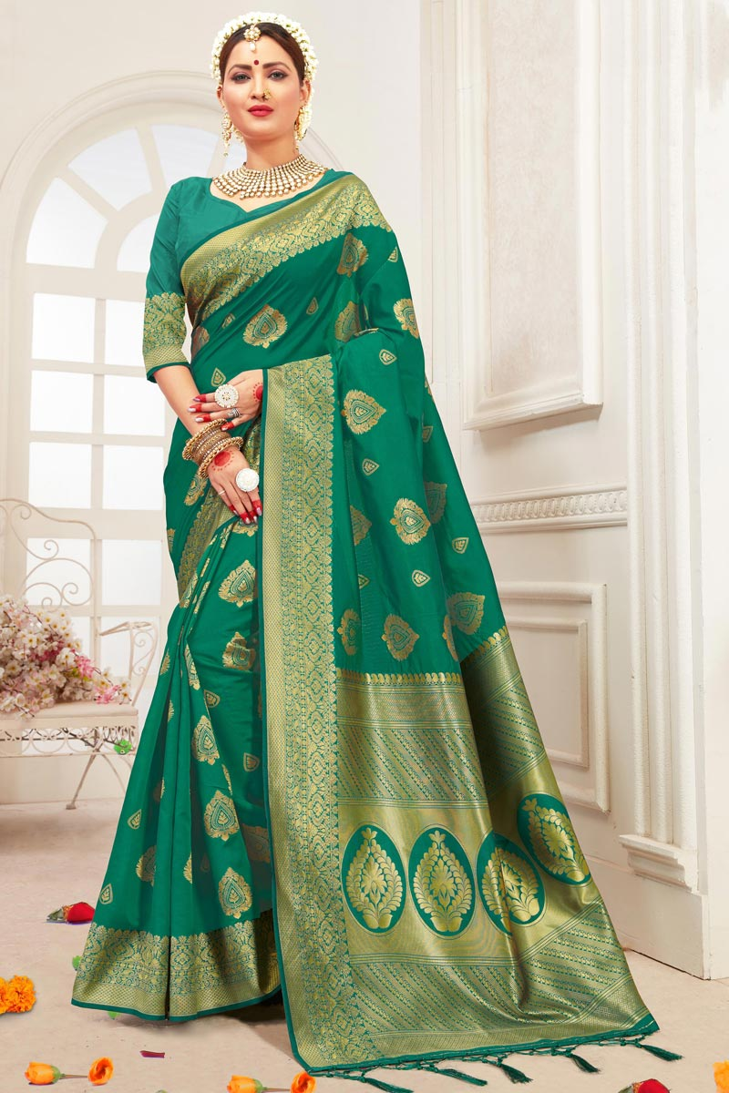 Art Silk Office Party Wear Teal Saree With Weaving Work