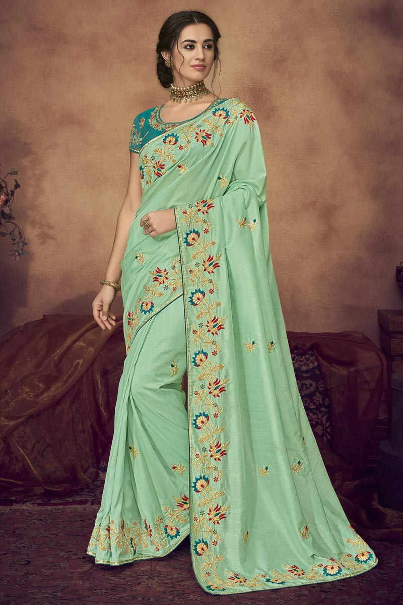 Function Wear Sea Green Designer Embroidered Saree In Fancy Fabric