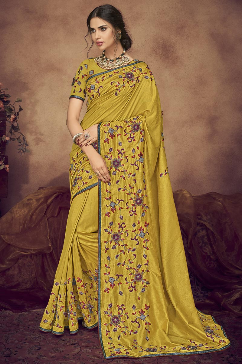Designer Fancy Fabric Function Wear Yellow Embroidered Saree