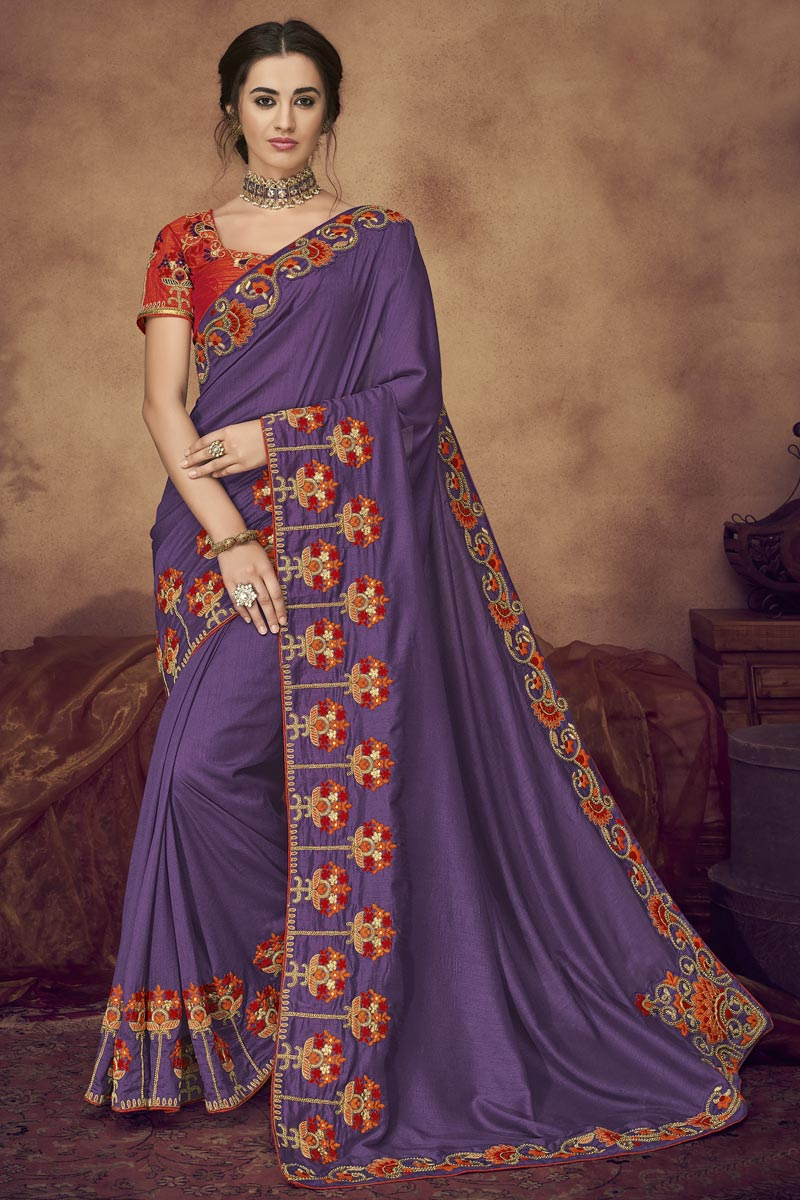 Function Wear Fancy Fabric Embroidered Designer Saree In Purple