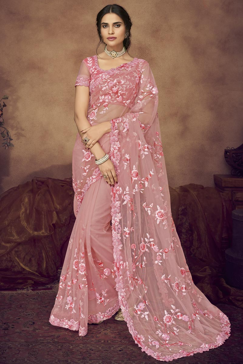 Pink Function Wear Fancy Fabric Embroidered Designer Saree