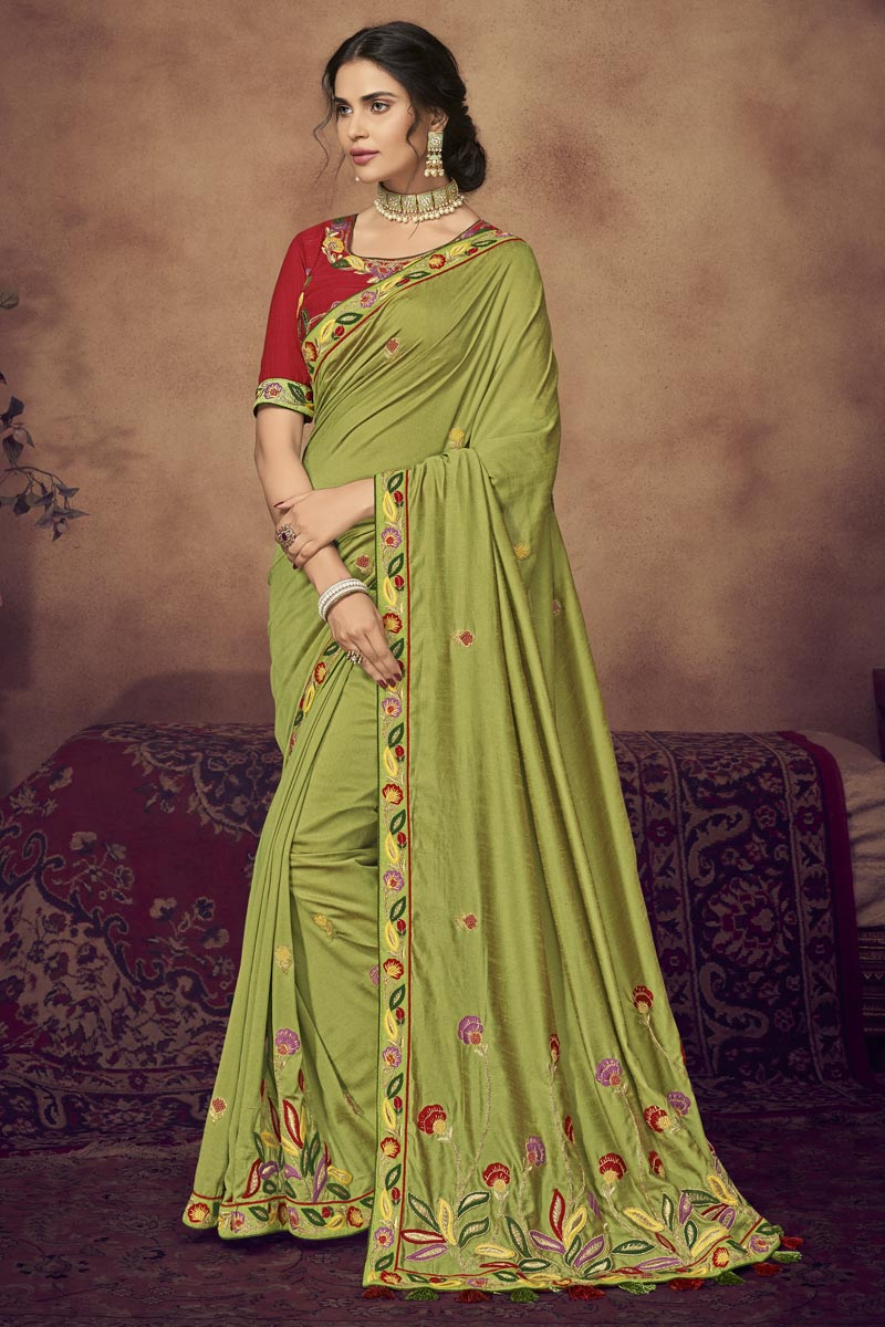 Function Wear Fancy Fabric Designer Embroidered Saree In Green