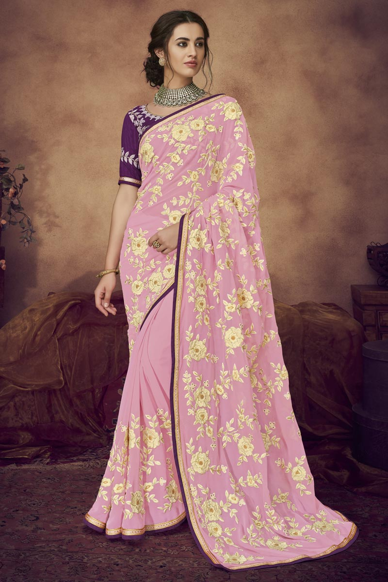 Designer Pink Function Wear Fancy Fabric Embroidered Saree