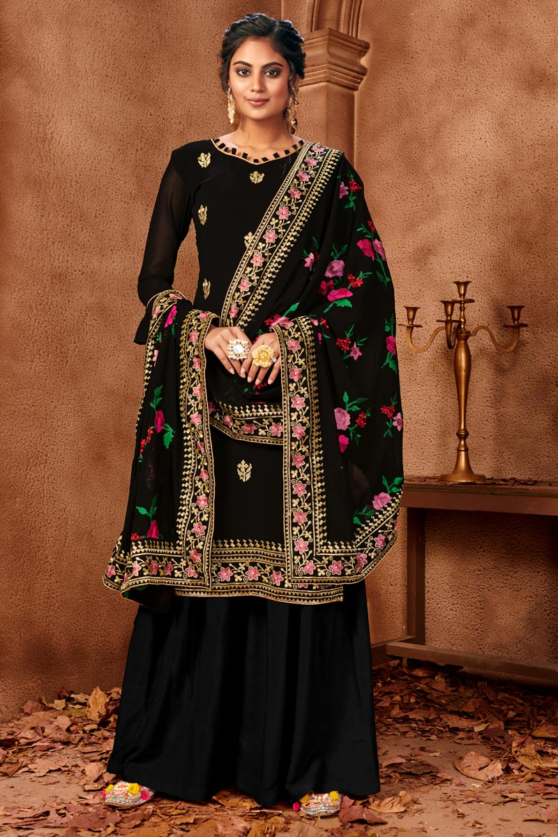 Festive Wear Classy Georgette Fabric Black Color Embroidered Palazzo Dress