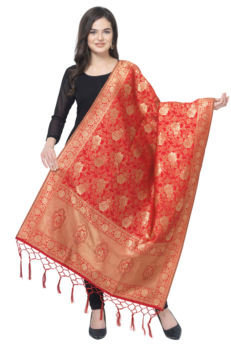 Wedding Wear Banarasi Silk Fabric Dupatta In Red Color