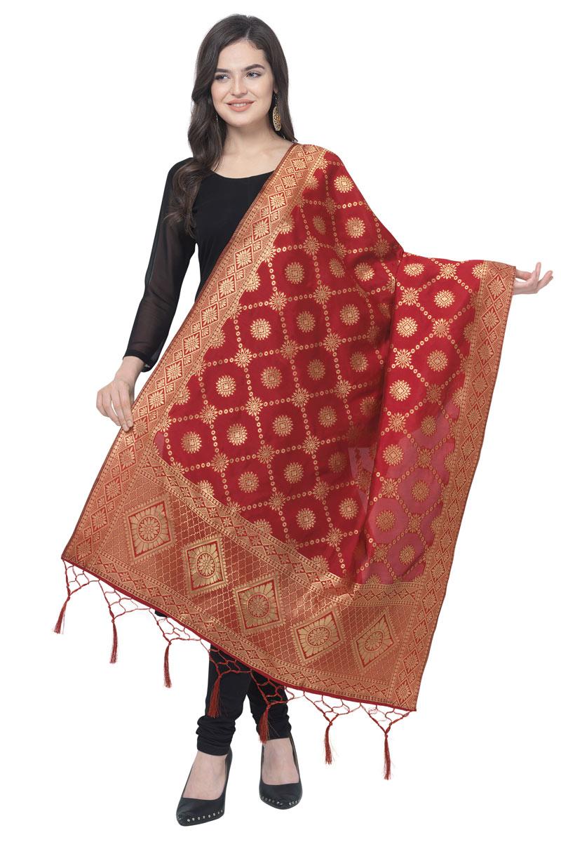 Function Wear Banarasi Silk Fabric Maroon Color Dupatta