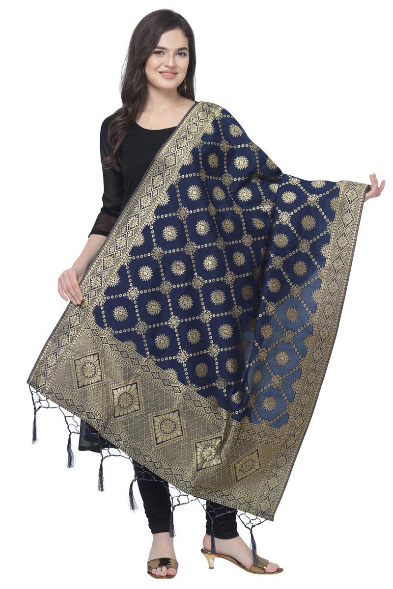 Banarasi Silk Fabric Function Wear Navy Blue Color Dupatta