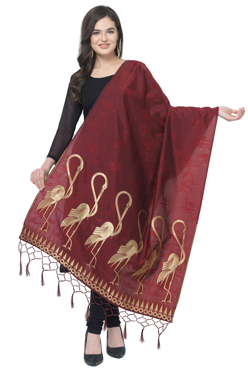 Fancy Maroon Color Dupatta In Banarasi Silk Fabric