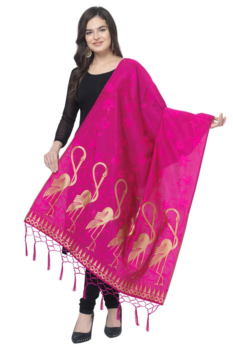 Reception Wear Fancy Banarasi Silk Fabric Dupatta In Magenta Color