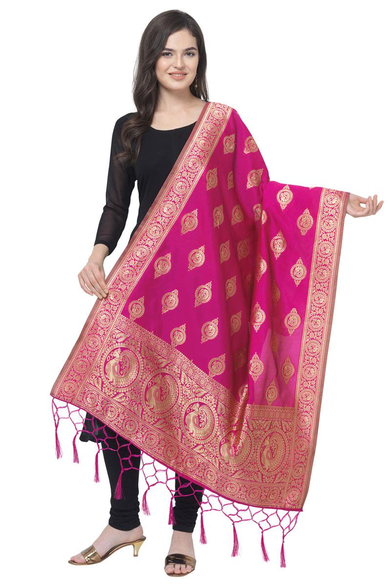 Sangeet Wear Banarasi Silk Fabric Dupatta In Magenta Color