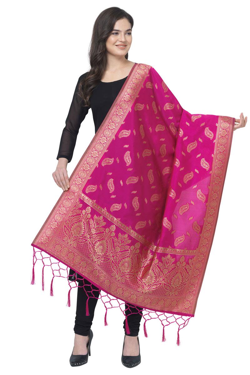 Banarasi Silk Fabric Rani Color Function Wear Dupatta