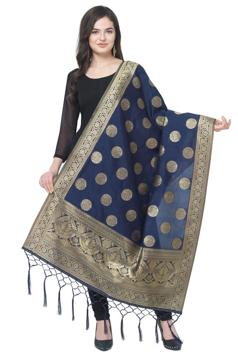 Party Wear Fancy Weaving Work Navy Blue Color Dupatta In Banarasi Silk Fabric