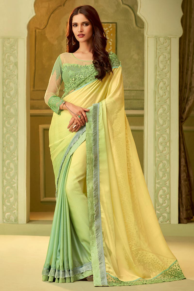 Party Style Art Silk Yellow Lace Border Saree With Embellished Blouse
