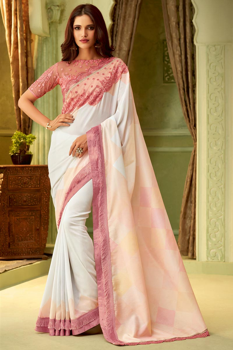 Off White Party Style Art Silk Lace Border Saree With Fancy Blouse