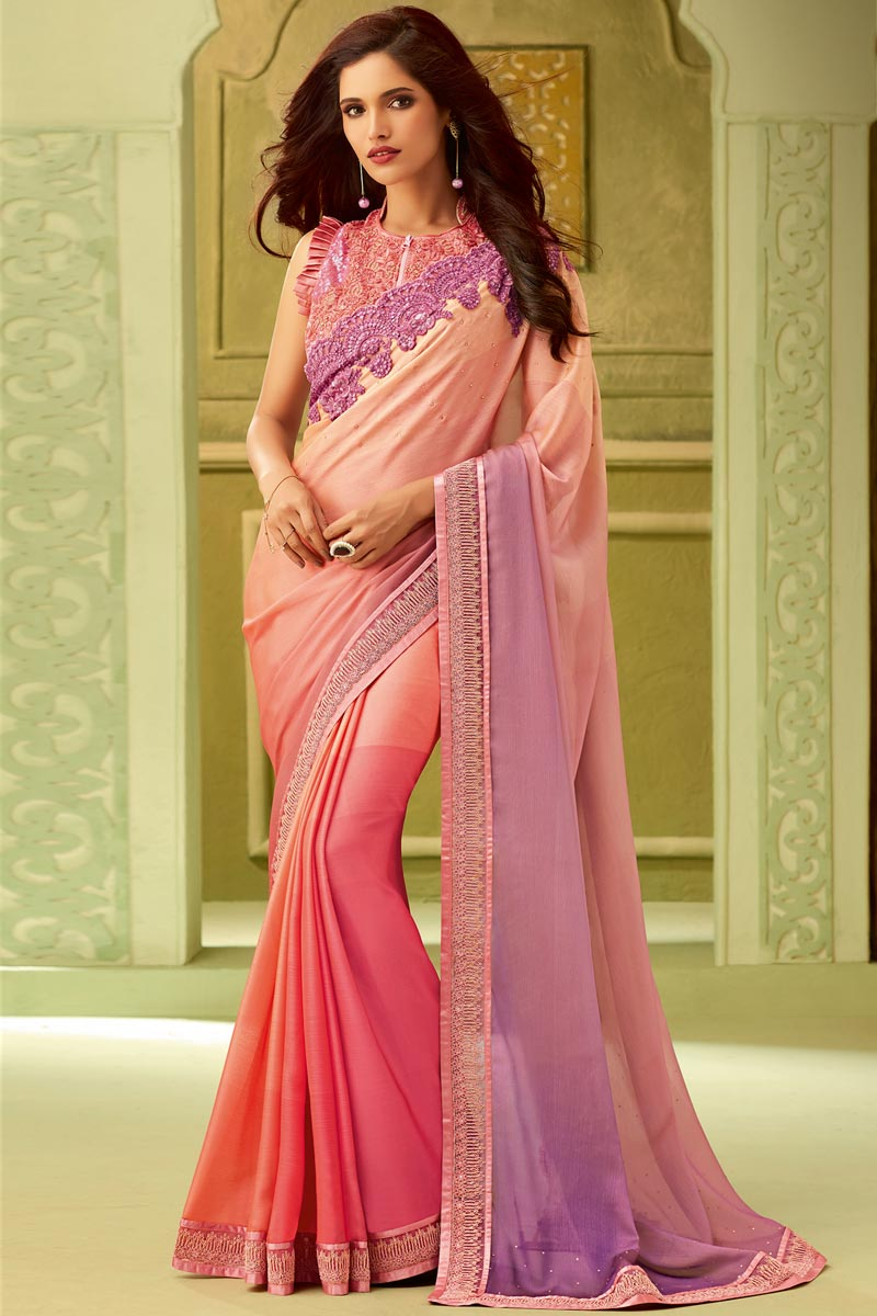 Party Style Pink Art Silk Lace Border Saree With Embellished Blouse