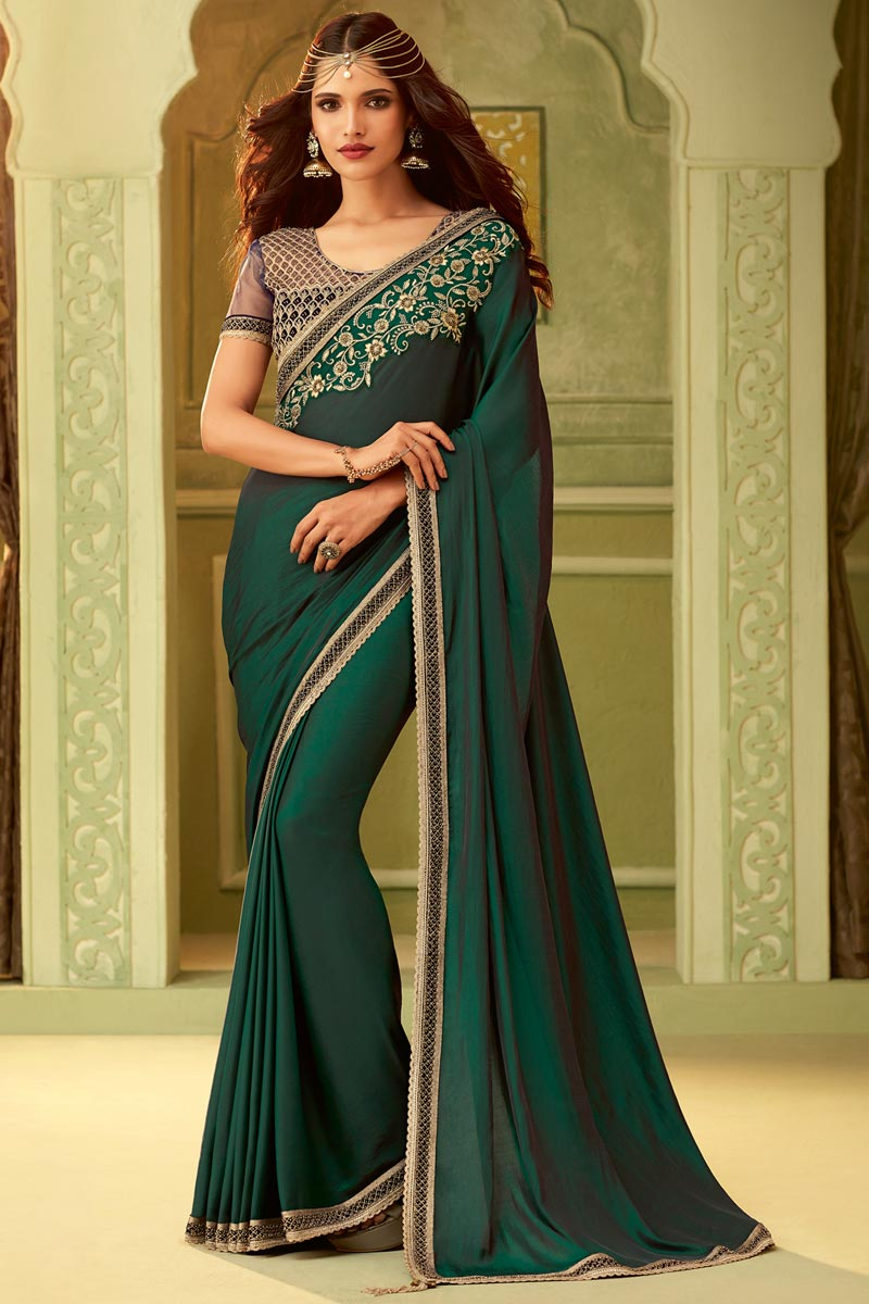 Dark Green Party Style Lace Border Saree In Art Silk With Fancy Blouse