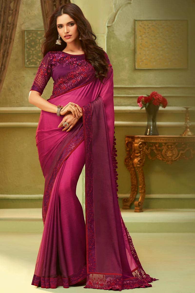 Art Silk Party Style Pink Lace Border Saree With Embroidered Blouse