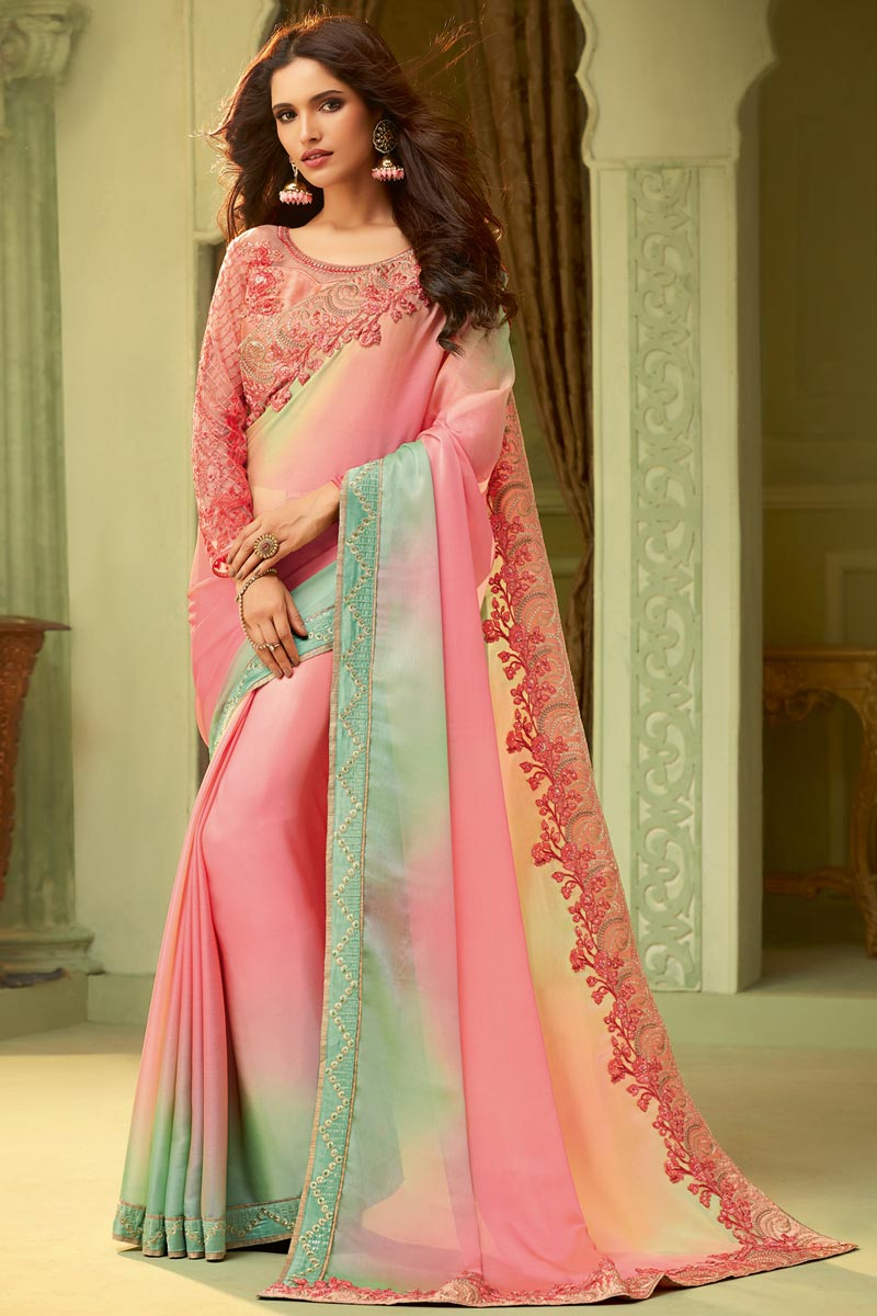 Party Style Pink Lace Border Art Silk Saree With Fancy Blouse