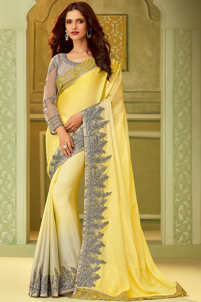 Art Silk Party Style Yellow Lace Border Saree With Embroidered Blouse