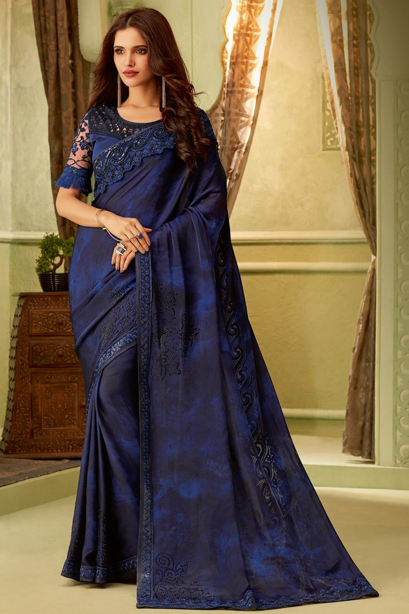 Party Style Art Silk Lace Border Saree In Navy Blue With Embellished Blouse