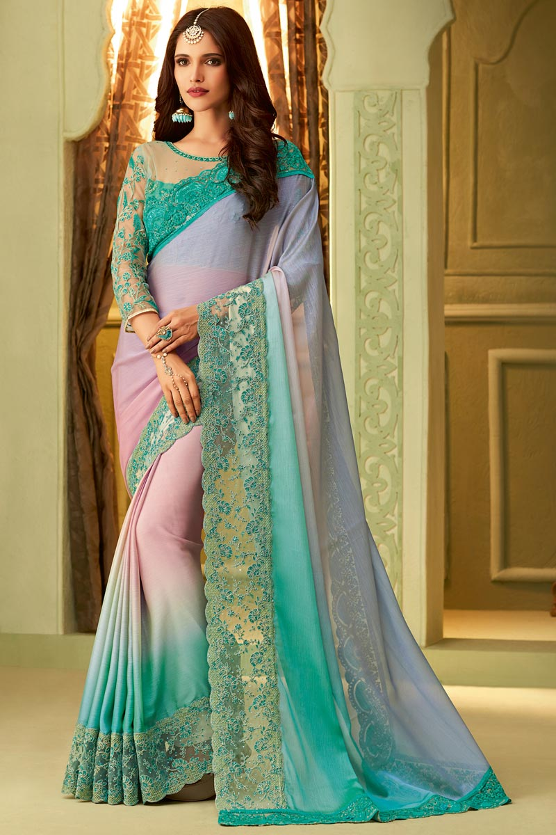 Art Silk Party Style Lace Border Saree In Cyan With Fancy Blouse