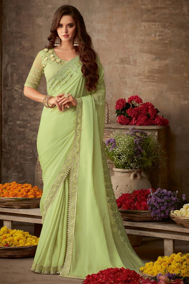 Art Silk Sangeet Wear Designer Saree With Heavy Blouse In Sea Green
