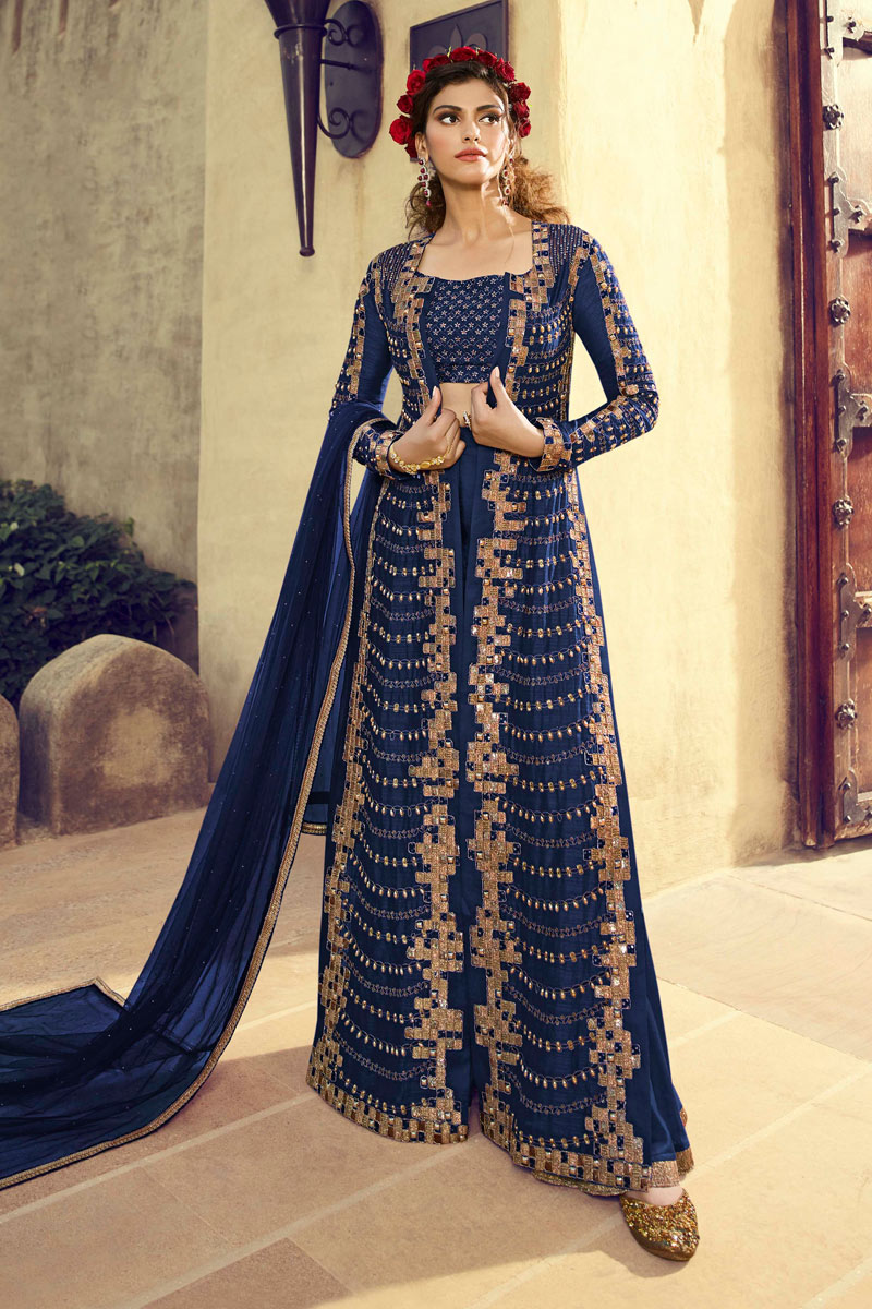 Eid Special Embroidery Work On Blue Color Party Wear Indowestern Palazzo Suit In Art Silk Fabric