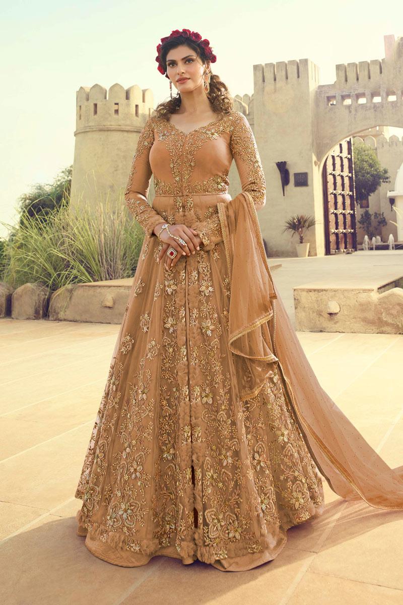 Spectacular Light Brown Color Designer Net Fabric Anarkali Salwar Suit