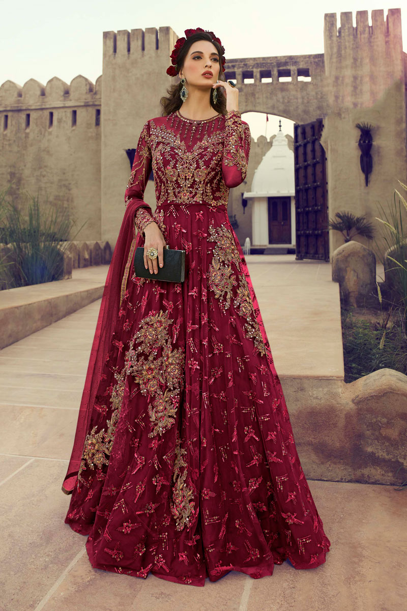 Glamorous Net Fabric Party Wear Anarkali Salwar Suit In Maroon Color