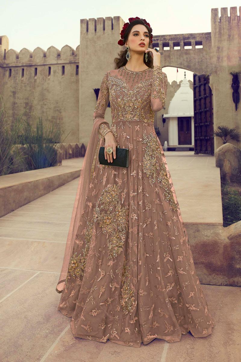 Eid Special Mesmeric Chikoo Color Embroiderd Net Fabric Designer Anarkali Suit