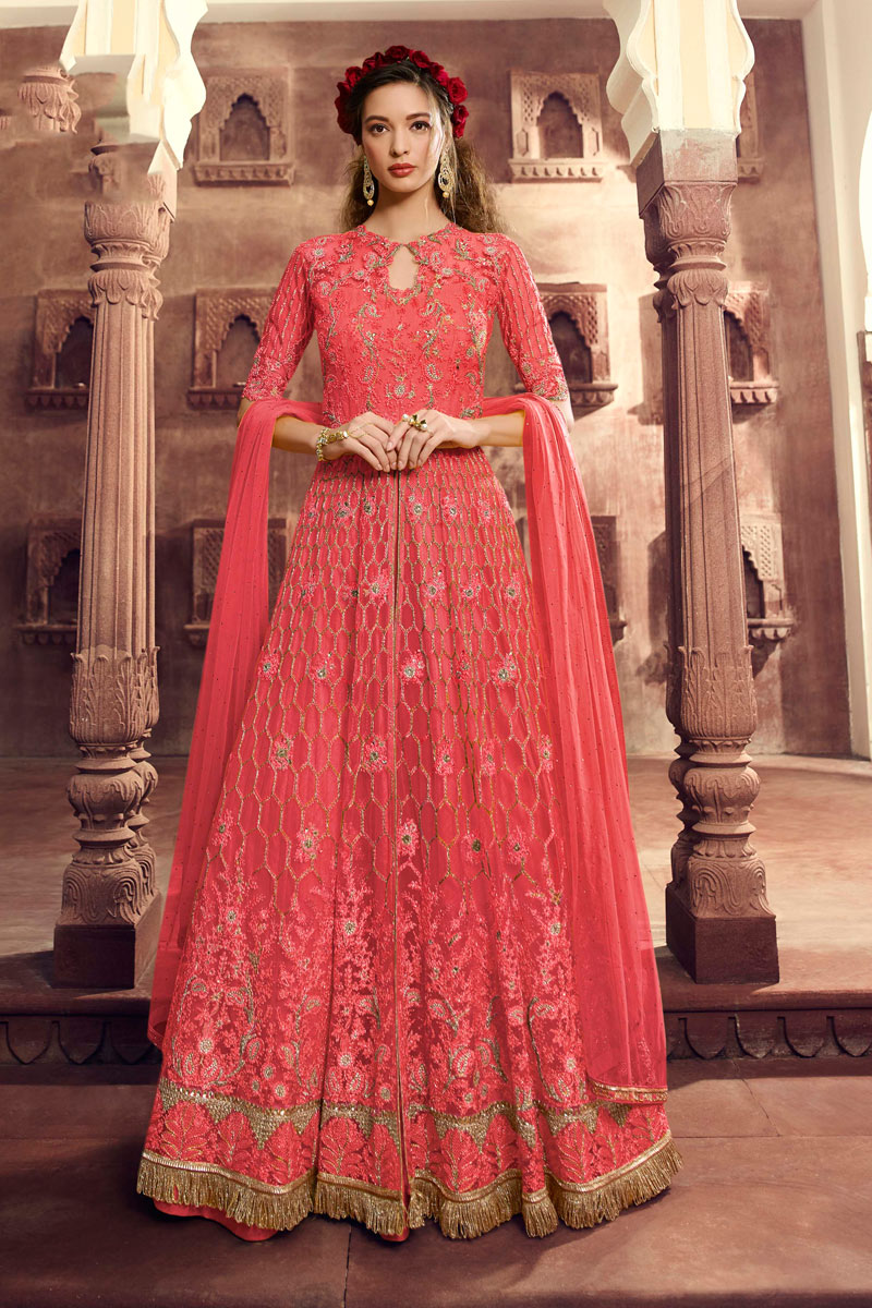 Eid Special Comforting Pink Color Net Fabric Designer Anarkali Suit With Embroidery Work