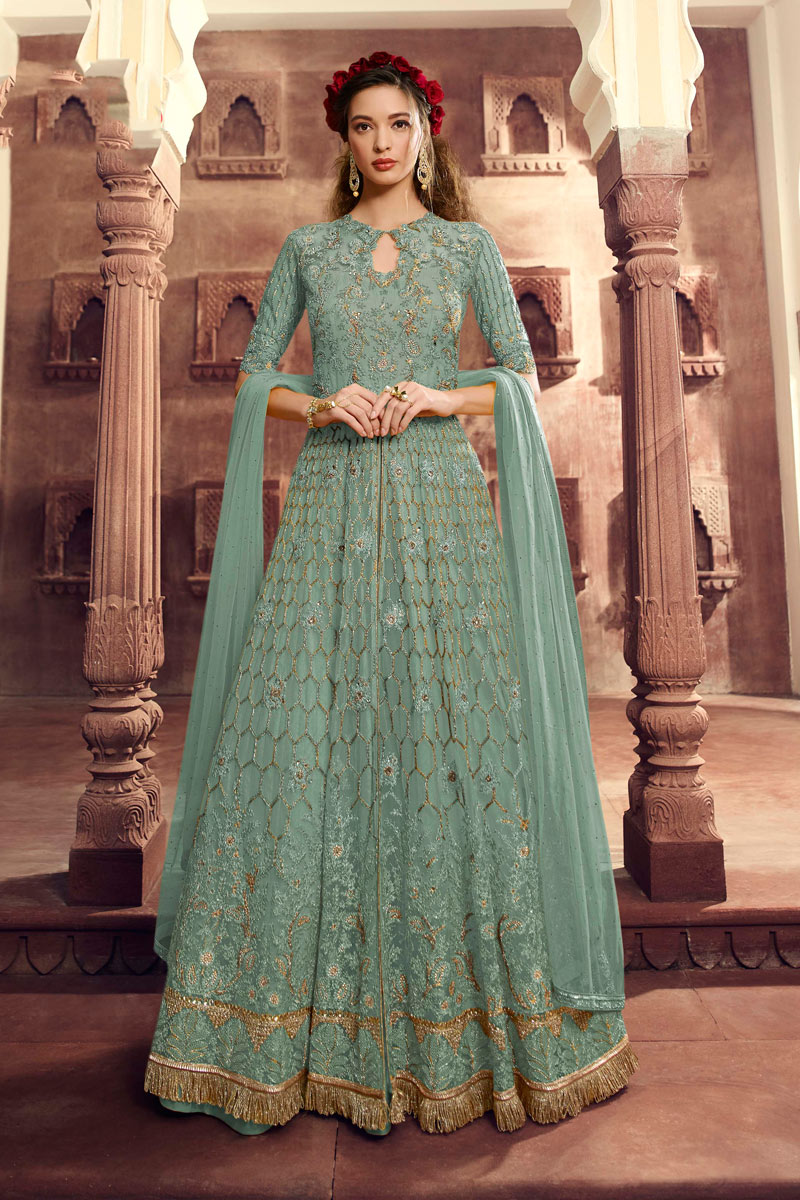 Eid Special Likable Light Cyan Color Net Fabric Embroidered Designer Anarkali Suit